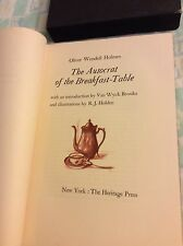 THE AUTOCRAT AT THE BREAKFAST TABLE BY OLIVER WENDELL HOMES -HERITAGE PRESS 1955
