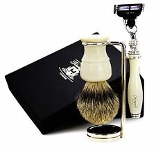 3 Pieces Shaving Set For Men's. Set Has Badger Hair Brush,Mach 3 Razor & Stand