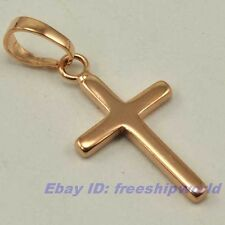 "REAL SUBLIMATE 18K ROSE GOLD GP 0.95"" CROSS PENDANT SOLID FILL GEP JEWELRY F11"