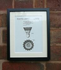 "USA Patent drawing Vintage BADMINTON SHUTTLECOCK Mounted PRINT 10"" x 8"" 1976"