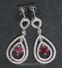 SOLID 14Kt WHITE GOLD NATURAL BLOOD RUBY VS DIAMOND EARRINGS