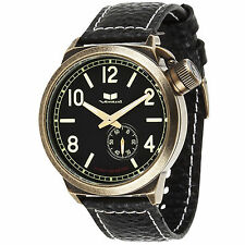 Brand New Vestal CTN3L07 Mens Canteen Black Leather Antique Patina Gold Watch
