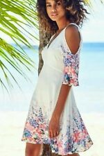 BEAUTIFUL COLD  SHOULDERS WHITE FLORAL PRINT DRESS SIZE 12 NEW