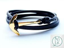 Gold Anchor Black Leather Bracelet Wrap Around Unisex Adjustable