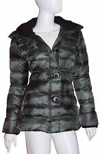 Rainforest Coat NWT Sz Small Green Black 100% Down Puff Front Button Zip MSRP450