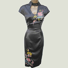 KAREN MILLEN Vintage Grey Silk Oriental Embroidered Cocktail Wiggle Dress 8 UK