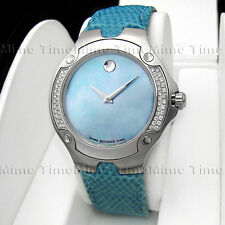 Women's Movado SPORTS EDITION SE Diamond Baby Sky Blue MOP Pearl Dial 0604734