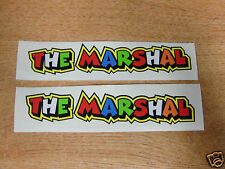 """Valentino Rossi style text - """"THE MARSHAL""""  x2 stickers / decals  - 5in x 1in"""