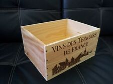 A FRENCH WOODEN WINE CRATE BOX  PLANTER HAMPER / DRAWERS / STORAGE  3