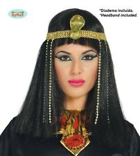 EGYPTIAN WIG WITH SNAKE HEADBAND FANCY DRESS CLEOPATRA EGYPT STRAIGHT BLACK HAIR