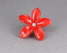 Red plumeria hair clip hawaiian flower barrette alligator claw clamp