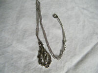 """Beautiful Necklace Silver Tone Signed """"SARAH"""" 16-19 Inch 1 1/4 Inch Pendant"""
