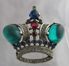 Vintage Trifari Philippe Sterling Silver Figural Crown Pin Brooch Green Cabochon