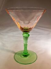TIFFIN GLASS CO. WATERMELON PINK & GREEN DIAMOND OPTIC CHAMPAGNE COCKTAIL GOBLET