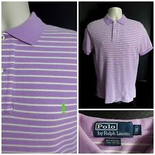 Ralph Lauren Polo Men's Purple Striped S/S Cotton Polo Shirt - Size S