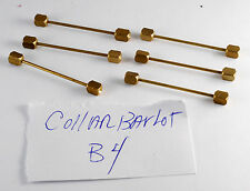 LOT OF 6 OLD VTG SOLID BRASS INDENTED ENDS FOR RHINESTONE COLLAR BARS LOT B4