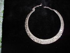 EXQUISITE 5 ROW Crystal Rhinestone Collar Choker Necklace  NEW  SALE