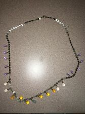 Anthro  Necklace Lucite Clear Teardrops Colors Bead Gold Metallic Discs 21""