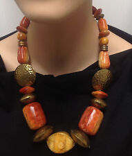 "Chunky Brass and Polished Wood Bead 24"" Necklace"
