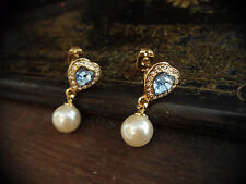 Vintage Light Blue Sapphire Crystal Heart &  Pearl Drop Pierced Earrings