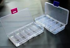 One Small Clear Plastic 10 Compartment Storage Box with Lid