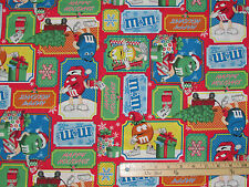 M&M'S® Licensed Christmas Patchwork Mars Chocolate Fabric by the 1/2 Yard #12348