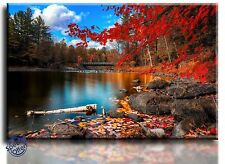 Large Wall Art Canvas Picture Print of Autumn Lake Framed