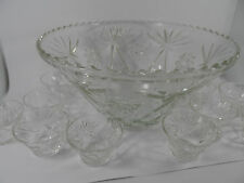 Vintage glass fruit punch bowl .