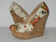 Womens Floral Cotton Linen Round Toe Wedge Platform Shoes Roses Sandal High Heel