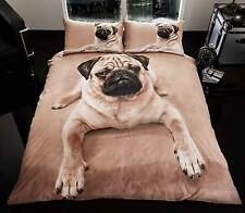 PUG DOG SINGLE PANEL DUVET SET 3D PRINTED DESIGN QUILT COVER AND PILLOW CASE