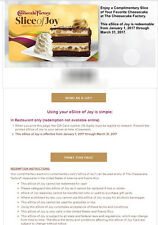 The Cheesecake Factory Slice of Joy Gift Card Certificate