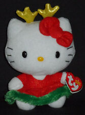 TY HELLO KITTY CHRISTMAS REINDEER ANTLERS BEANIE BABY - MINT TAGS