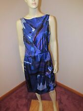 RICKIE FREEMAN TERI JON Ruched Ruffle Sleeveless Boat Neck 100% Silk Sz 10 Dress