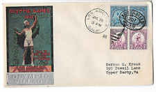 US 1932 Olympic Village Cachet Summer Opening Day Cover Sc 718 719 Pairs