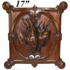 """Antique Carved Oak Black Forest """"Fruits of the Hunt"""" Wall Plaque, Two Game Birds"""