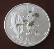 2017 DISNEY STEAM BOAT WILLIE MICKEY MOUSE 1 OZ SILVER COIN .999 W/REEDED EDGE