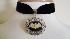 Black Velvet Bat Cameo Choker Medieval Pagan Gothic Bat Necklace Bat Pendant