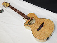 LUNA Fauna Hummingbird LEFT-HANDED acoustic electric Parlor GUITAR - Quilt Maple
