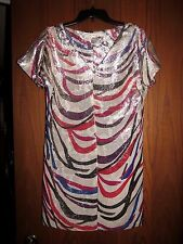 Diane Von Furstenberg $448 Metallic Multi Zebra Stripe Silk Blend Tunic Dress 4