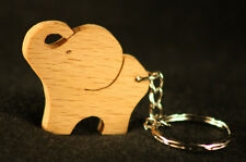 Hand Crafted Beech Wood Elephant Keyfob and Keyring - Gift Present