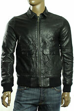 New Mens Tommy Hilfiger Full Zip Black Cambridge Leather Bomber Jacket S