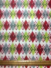 Vintage Cotton Fabric 40s50s CUTE Lil Leafy Diamonds  35w 1yd