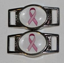 Pink Ribbon Oval Breast cancer shoelace charm pair (2) shoes/paracord