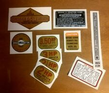 1961 1963 Briggs & Stratton decal  Alum 2-3.5hp Vertical choice HP decals & Air