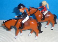 "Lego Lot  .. 2 BELVILLE HORSES WITH 3"" Tall Riders"