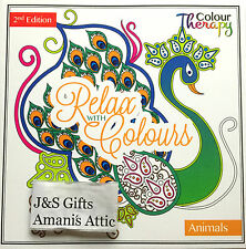 New Adult Relax Colour Therapy Colouring Book Peacock and Animals 2nd Edition