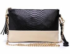 Ladies Black And White Monochrome Snakeskin Leather Clutch Bag Purse with Chain