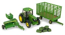 John Deere 6210 R Cab Tractor With 338 Baler & Wagon & Bales 1:64  Ertl 2012 New
