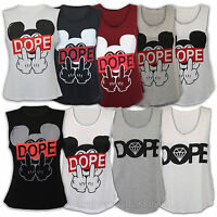 Ladies Vest Womens Tank Top Mickey Mouse Print Dope Sleeveless Stretch Summer