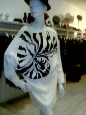 STELLA MC CARTNEY BLACK & WHITE OP ART  DOLMAN SLEEVES SILK MINI DRESS  SZ I 42
